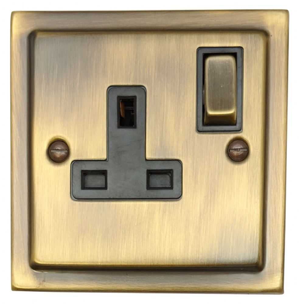 G&H TAB309 Trimline Plate Antique Bronze 1 Gang Single 13A Switched Plug Socket